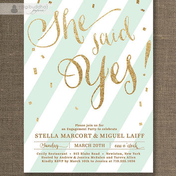 Gold Glitter Engagement Party Invitation She Said Yes Stripes Mint Gold Confetti Sprinkle Modern Printable Digital or Printed - Stella Style