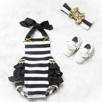 Black and White stripe Ruffle Romper