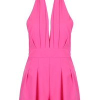 Hot Pink Halter Backless Romper