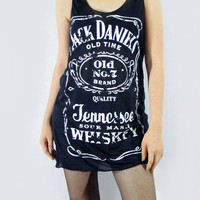JACK DANIELS Sour Mash Tennessee Whiskey Old No.7 Brand Tank Top Women Black Shirt Tunic Top Vest Women Singlet Jack Daniels Shirt Size S M