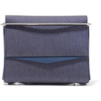 Eddie Borgo - Boyd small leather-trimmed denim clutch