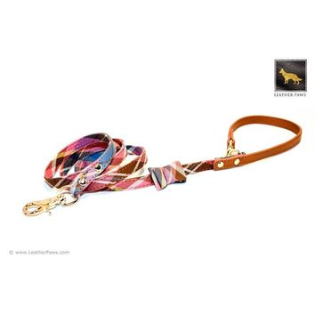 Universe Plaid Bow Tie Leather Dog Leash