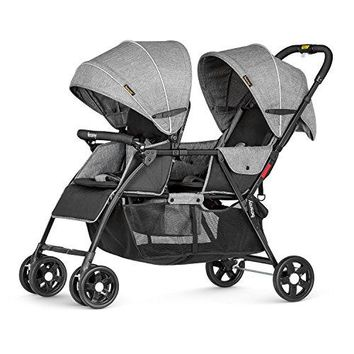 Double Stroller Baby Tandem Stroller 0-36 Months with Adjustable backrest/foot plate and 5 Point Harness