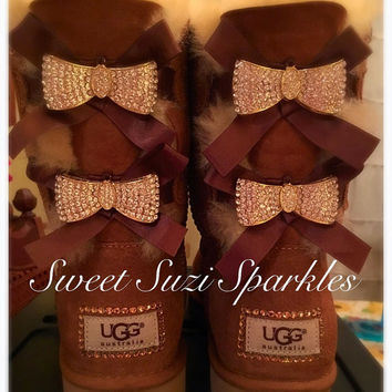Custom Bling Ugg boots, Chestnut Bailey Bow....(other colors available!)