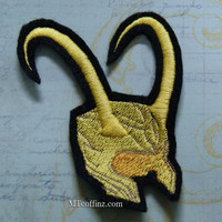 Loki Gold Horned Helmet Iron On Embroidery Patch MTCoffinz