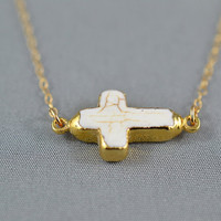 White Sideways Cross Edged with 24k Gold by WonderfulJewelry