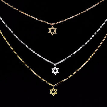 Gothic 18K Gold Filled Star of David Charm Pendant Necklace Delicate Jewish Jewelry Collier Femme Stainless Steel
