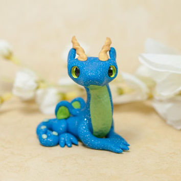 Dragon Figurine, Polymer Clay Figure, Dragon Sculpture, Blue Dragon Figurine, Small Dragon, Magical Creature, Clay Figurine, OOAK Sculpture