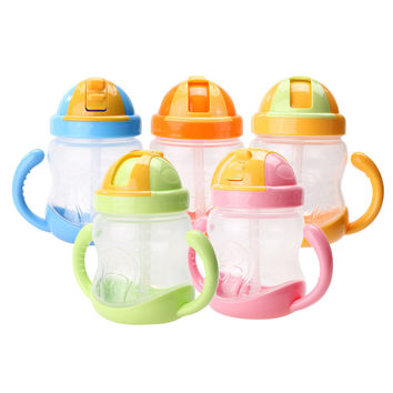 280ml Cute Baby Cup Kids Children Learn Feeding Drinking Water Straw Handle Bottle mamadeira Sippy Training Cup Baby Feeding Cup