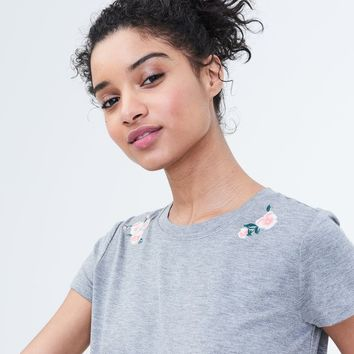 SERIOUSLY SOFT FLORAL EMBROIDERED GIRL TEE