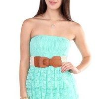 all over floral lace strapless belted tiered casual dress - 400003475476 - debshops.com