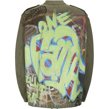 Faith Connexion Glitter Graffiti Parka Jacket