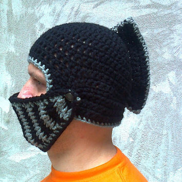 Crocheted Black Knight Helmet Hat With Movable Visor ,Crochet Slouch Mens Grey  Beanie Hat Handmade Winter Men Snowboard Ski Hat unisex