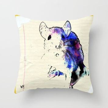 Mouse Throw Pillow by Jessica Ivy