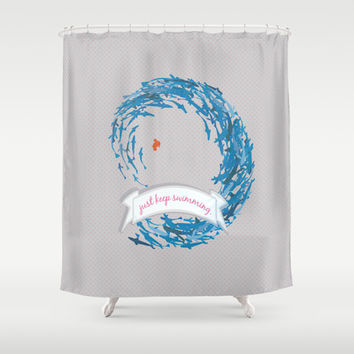 just keep swimming.. shabby chic Shower Curtain by studiomarshallarts
