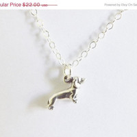 ON SALE 10% OFF Mini Weiner Dog Necklace, Daschound Necklace, Dog Necklace, Silver Dog Necklace