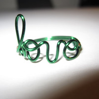 Green Love Ring Wire Wrapped