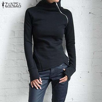 ZANZEA Women Hoodies Sweatshirts 2017 Autumn Casual Turtleneck Long Sleeve Zippers Slim Fit Blusas Pullovers Plus Size Solid Top