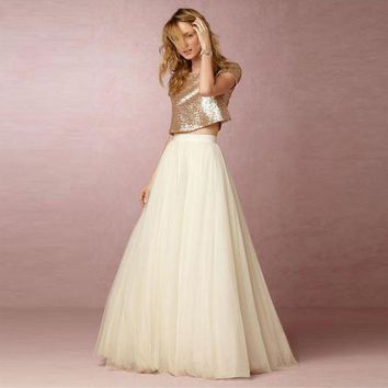 DCCKU62 5 Layers Maxi Long Skirt Soft Tulle Skirts Cream Ivory Wedding Bridesmaid Tutu Skirt Plus Size Faldas Saias Femininas Jupe