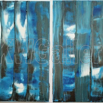 ORIGINAL Abstract Art, 22x14 Acrylic Painting, Palette Knife Modern Art, Wall Art, Blue White Brown Painting