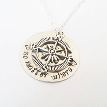 Compass Necklace No Matter Where Personalized Jewelry Friendship Gift Long Distance Relationship Boyfriend Girlfriend Travel necklace