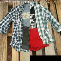 Mystery Vintage Hipster Outfit (1 Flannel Shirt, 1 Graphic Tee, and 1 pair of High-Waisted Shorts)