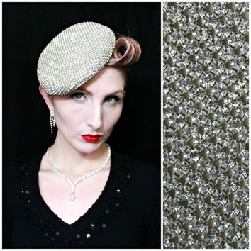 RESERVED 4 SR / 1940s Hat / Vintage / Diamonds / Glass Rhinestones / Burlesque