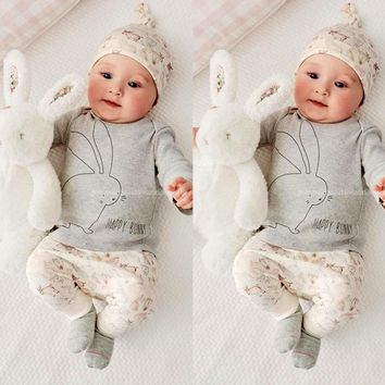3PCS Cute Baby Kids Girls Newborn Long Sleeve T-shirt+Pants+Hat Outfits Set Infant Bunny Costume Toddler Baby Children Clothes