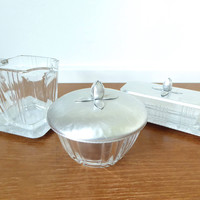 Hammered aluminum and glass serving set with creamer, covered sugar bowl and covered butter dish, retro kitchen tabletop