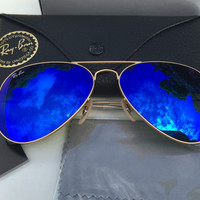 Authentic RAY-BAN AVIATOR SUNGLASSES Unisex Blue Flash/Gold RB3025 112/17 62mm
