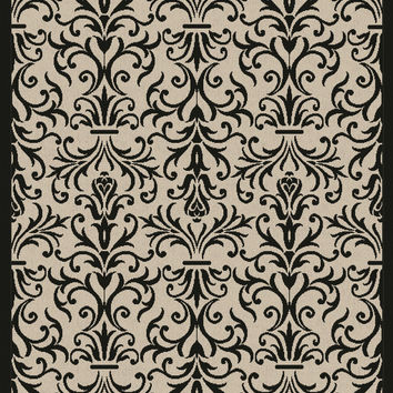 Dynamic Rugs Piazza Sand/Black Medallion/Damask Rectangle Area Rug