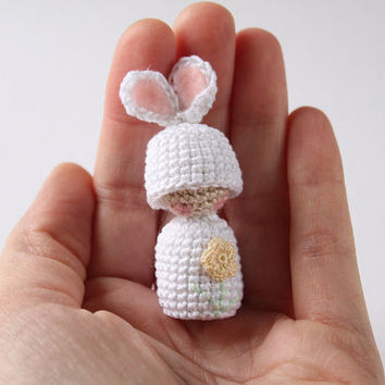 Easter Bunny - Woodland Decor - Easter Basket - Easter Egg Surprise - Easter Decor - Easter Tree Ornament - Small Crochet Bunny