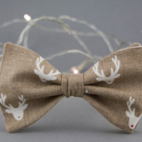 Christmas Bow Tie for Men Beige Bow Tie Red Nose Reindeer Bow Tie Mens Bow Tie Gift for Men Christmas Gift Optional Set for Father and Son