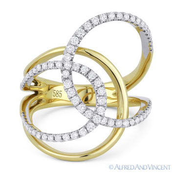 0.49 ct Round Cut Diamond Right-Hand Overlap Loop Wrap Ring in 14k Yellow Gold