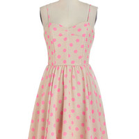 ModCloth Mid-length Spaghetti Straps A-line Dots and Dashing Dress