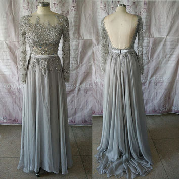 Silver Chiffon Skirt Bateau Neck Appliques Beadings Backless Prom Dress with Long Sleeves Formal Evening Dress FA007