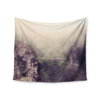 "Sylvia Coomes ""Foggy Mountain Landscape"" Brown Green Wall Tapestry"