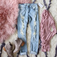 Dreamy Sky Distressed Jeans