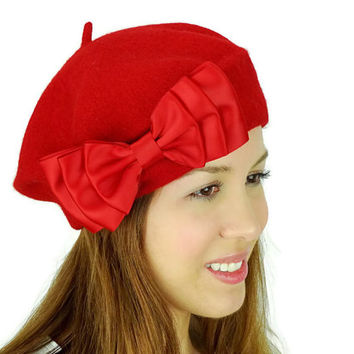 French Beret Hat with Big Bow Red Beret Hat Cold Weather Hat Women's Accessories Winter Hat Red Hair Bow Red Earwarmers Red Hat Satin Ribbon