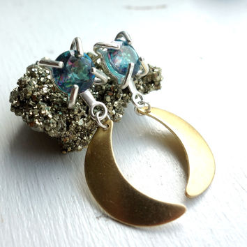 Blue Rainbow Topaz and Moon Dangle Studs
