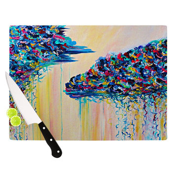"Ebi Emporium ""Silver Linings"" Beige Blue Cutting Board"