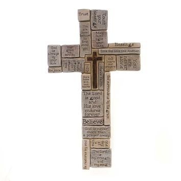Home Decor CROSSWORD WALL CROSS Polyresin Believe Rejoice Trust 46441