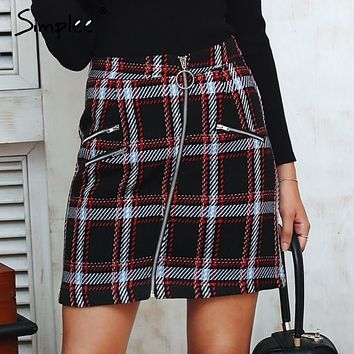 SKIRT Elegant front zipper tweed winter skirt Women multi plaid cute skirt for ladies lining mini skirt