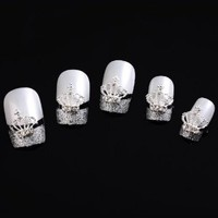 Adored Small Crown Beads 10 pieces Silver 3D Alloy Nail Art Slices Glitters DIY Decorations