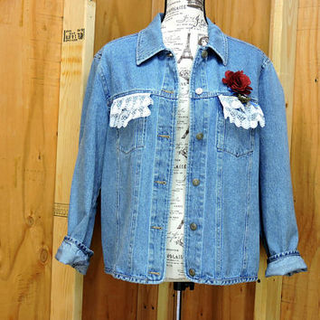 Upcycled denim jacket / M / L / restyled shabby chic denim jean jacket
