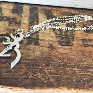 Large Browning Symbol Buckmark Necklace on 28 inch Silver Chain