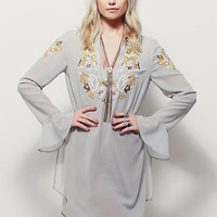 Turn Down Collar Flare Sleeve Empire Embroidery Dress