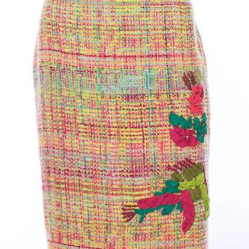 CHRISTIAN LACROIX PARIS Pink Multi Colored Cotton Wool Blend Tweed Floral Skirt Size 40 Euro