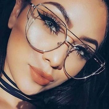 Fashion Clear Lens Plain Cat Eye Glasses for Reading Aviation Alloy Gold Frame Sunglasses Women Optical Oculos De Sol Feminino
