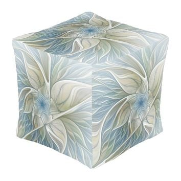 Floral Dream Pattern Abstract Blue Khaki Fractal Pouf